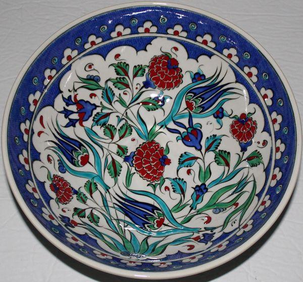 "10""x3 2/3"" Handmade Turkish Iznik Tulip & Carnation Pattern Ceramic Bowl"