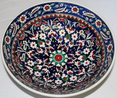 "Handmade 12""x4"" Turkish Blue Iznik Daisy & Floral Pattern Ceramic Bowl"