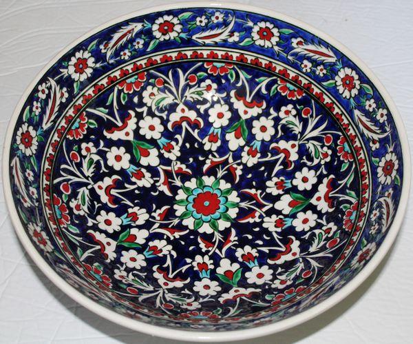 "Handmade 12""x4"" Turkish Blue Iznik Daisy & Floral Pattern Ceramic Bowl"