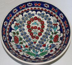 "Handmade 12""x4"" Turkish Iznik Floral Pattern Ceramic Bowl"