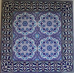 "24""x24"" Turkish Iznik Floral Pattern Ceramic Tile Mural Panel Set"