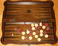 "19"" Hand-carved Mother of Pearl Inlaid Stained Wood Backgammon & Checkers Set"