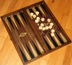 "19"" Handmade Mother of Pearl Inlaid Stained Wood Backgammon & Checkers Set"