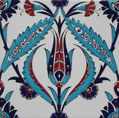 "Turkish 8""x8"" Iznik Tulip & Floral Pattern Ceramic Tile"