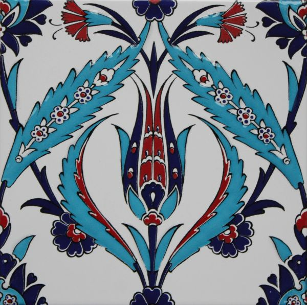 "Turkish 8""x8"" Iznik Tulip & Floral Pattern Ceramic Tile"