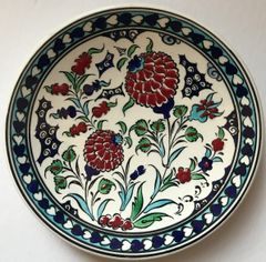 "7"" (18cm) Turkish Iznik Red Carnation & Floral Pattern Ceramic Plate"