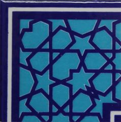 "4""x4"" Turkish Iznik Geometric Pattern Ceramic Corner Tile"