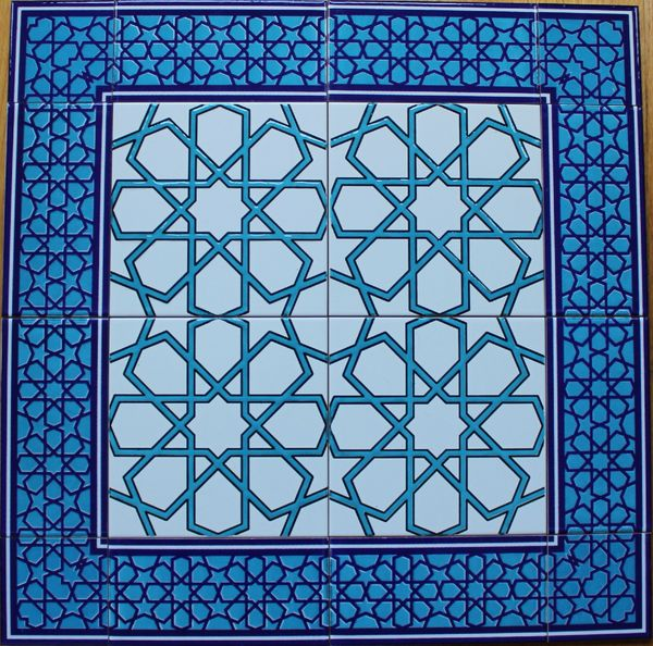 "24""x24"" Turkish Iznik Geometric Pattern Ceramic Tile Mural Panel"