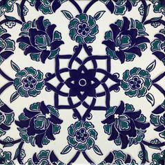 """Set of 20 Blue Turkish Iznik Carnation & Floral Pattern 8""""x8"""" Tile"""