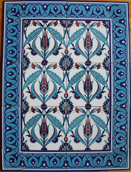 "24""x32"" Turkish Iznik Tulip & Floral Pattern Ceramic Tile Mural Panel"