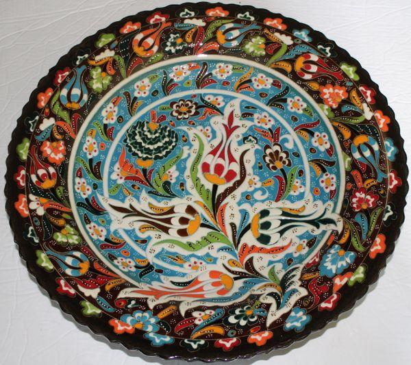 """16"""" (40cm) Handmade Turkish Iznik Raised Tulip & Floral Pattern Ceramic Plate"""