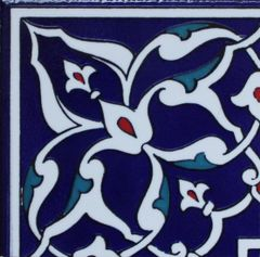 "4""x4"" Turkish Iznik Floral Pattern Ceramic Tile Border Corner"