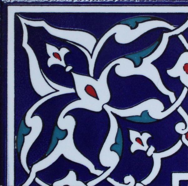 "4""x4"" Turkish Iznik Floral Pattern Ceramic Tile Border Corner"