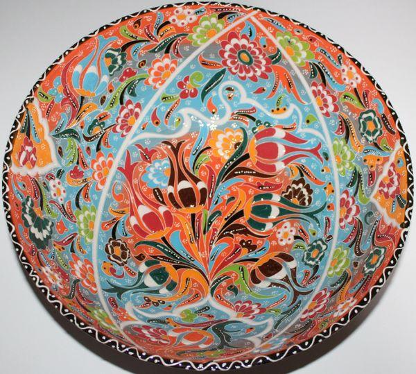 "12""x4"" Handmade Turkish Iznik Raised Tulip & Floral Pattern Ceramic Bowl"