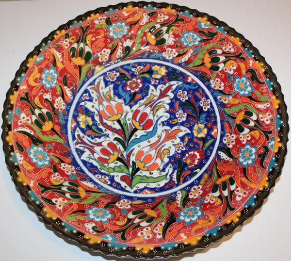 "16"" (40cm) Handmade Turkish Iznik Raised Floral Pattern Ceramic Plate"