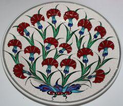 "Special Edition12"" Handmade Turkish Iznik Red Carnation Pattern Ceramic Plate"