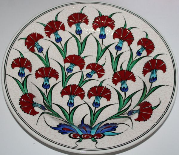 "Special Edition12"" Handmade Turkish Iznik Red Carnation Pattern Ceramic Plate"