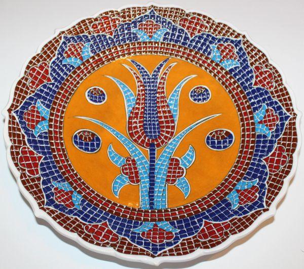 "Handmade 12"" Turkish Iznik Mosaic Tulip & Floral Pattern Ceramic Plate"