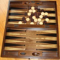 "20"" Handmade Wood & Mother of Pearl Inlaid Stained Wood Backgammon & Checkers Set"