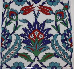 "Turkish 8""x8"" Iznik Carnation & Tulip Pattern Ceramic Tile"