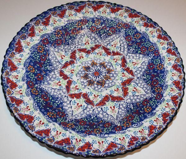 "16"" (40cm) Handmade Turkish Iznik Red Tulip & Floral Pattern Ceramic Plate"