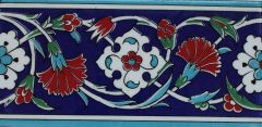 "4""x8"" Turkish Iznik Carnation & Floral Pattern Ceramic Tile Border"