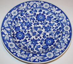 "12"" Blue & White Turkish Hand-painted Iznik Floral Pattern Ceramic Plate"
