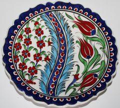 "7"" Turkish Handmade Iznik Red Tulip & Floral Pattern Ceramic Plate"