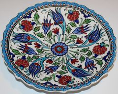 "10"" (25cm) Handmade Turkish Iznik Tulip & Carnation Pattern Ceramic Plate"