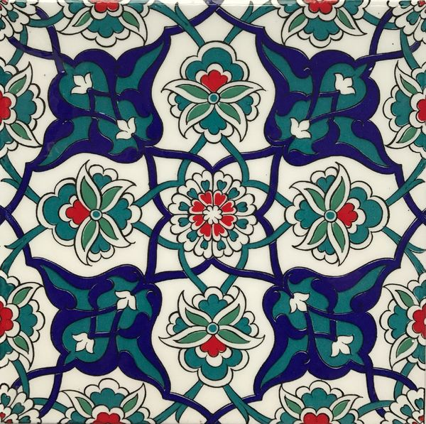 "8""x8"" Turkish Iznik Carnation & Daisy Pattern Ceramic Tile"