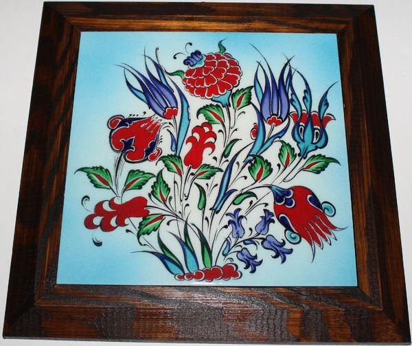 """Wood Framed 11""""x11"""" Handmade Turkish Iznik Floral Tile PANEL MURAL"""