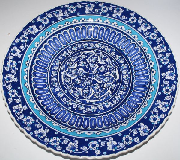 "16"" (40cm) Handmade Turkish Iznik Blue Floral Pattern Ceramic Plate Bowl"