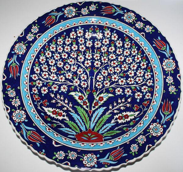 "16"" (40cm) Handmade Turkish Iznik Tree of Life Pattern Ceramic Plate Bowl"