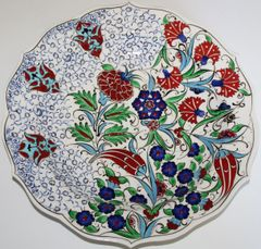 "Special Edition 12"" (30cm) Handmade Turkish Iznik Floral Pattern Ceramic Plate"