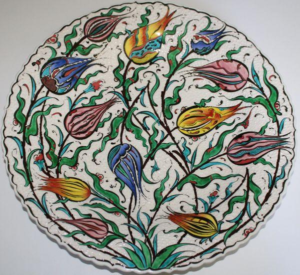 "16"" (40cm) Handmade Turkish Detailed Iznik Tulip Pattern Ceramic Plate"