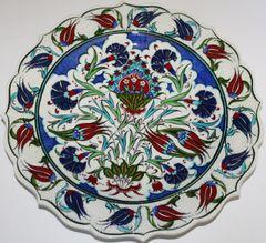 "Custom Handmade 12"" Turkish Iznik Floral Pattern China Plate"