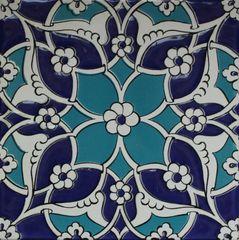 "Set of 20 Blue Turkish Iznik Daisy & Floral Pattern 8""x8"" Ceramic Tiles"