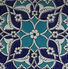 "Blue Turkish Iznik Daisy & Floral Pattern 8""x8"" Ceramic Tile"
