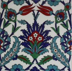 "Set of 20 Turkish 8""x8"" Iznik Carnation & Tulip Pattern Ceramic Tile"