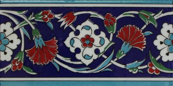 "Set of 50 4""x8"" Turkish Iznik Carnation & Floral Pattern Ceramic Tile Border"