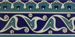 "4""x8"" Turkish Blue Iznik Floral Pattern Ceramic Tile Border"