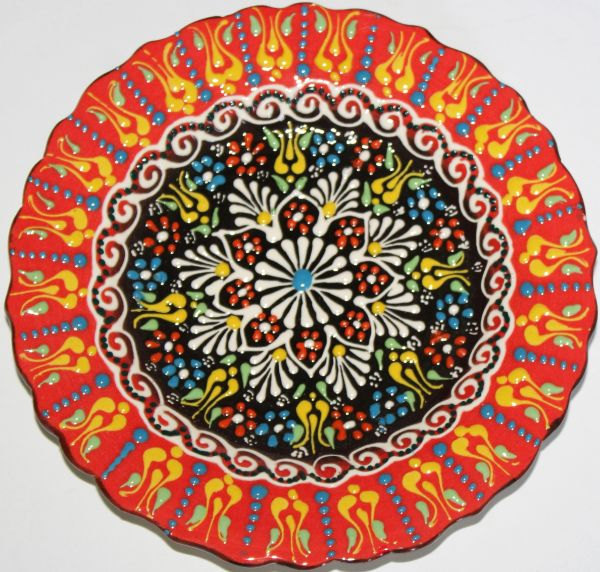 "7"" (18cm) Turkish Red & Black Iznik Floral Pattern Ceramic Cini Plate"