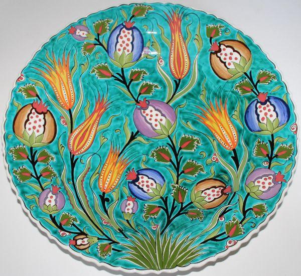 "16"" (40cm) Handmade Turkish Detailed Iznik Floral Pattern Ceramic Plate"