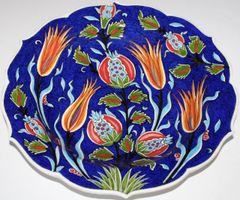 "Special Custom Handmade 12"" Turkish Iznik Floral Pattern China Plate In Box"