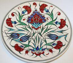 "Special Edition 12"" Handmade Turkish Iznik Red Carnation Pattern China Plate"