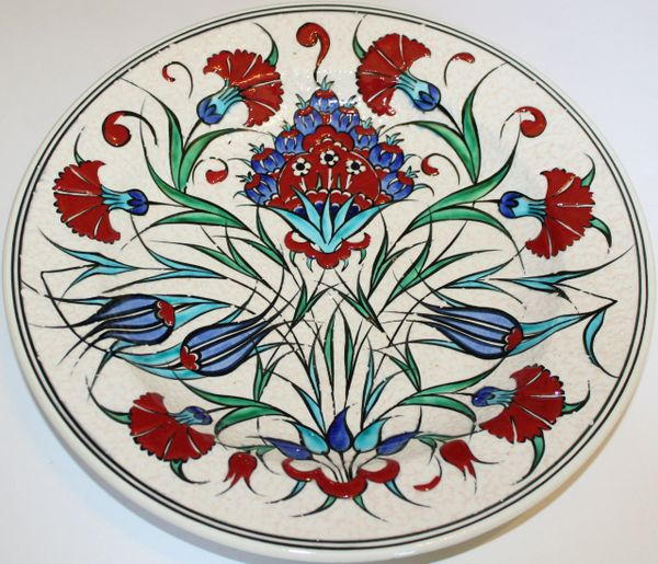 "Special Edition 12"" Handmade Turkish Iznik Red Carnation Pattern China Plate"