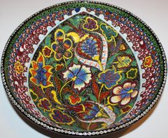 "12""x4"" Turkish Handmade Iznik Raised Floral Pattern Fine China Bowl"