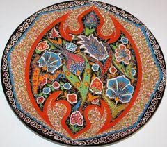 "13"" Turkish High Quality Textured Iznik Floral Pattern China Plate"