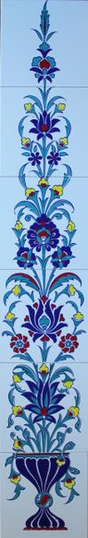 "48""x8"" Turkish Iznik Floral Pattern Ceramic Tile Mural Panel"