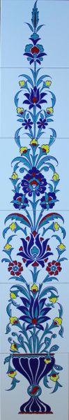 "48""x8"" Turkish Iznik Floral Pattern Ceramic Tile Mural Panel"